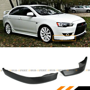 For 2008 15 Mitsubishi Lancer Jdm Style 2pc Front Bumper Lip Side Splitters Cap