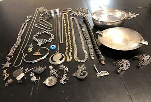 Old Pawn Revival Zuni Navajo Mexico Bell Trade More Sterling Not Scrap Lot Jl