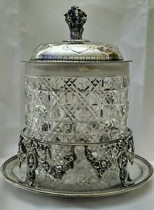 Antique English Sterling Silver Plate Crystal Cut Biscuit Jar