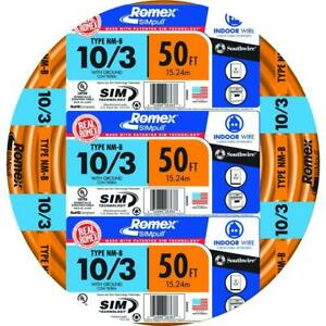 Southwire Electrical Wire Cable 50 Ft 10 Gauge Solid Romex Simpull Cu Nm b W g