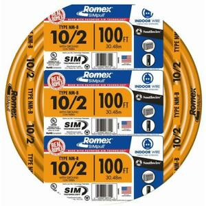 Southwire Electrical Wire Cable 100 Ft 10 Gauge Solid Romex Simpull Cu Nm b W g