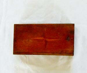 Primitive Dovetail Wooden Box Inlaid Compass Rose In Lid Thumb Nail Cut Rare