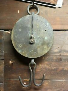 Antique John Chatillon Sons 150lb Brass Face Hanging Market Scale Tool Ny Trade