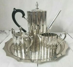 Vintage 6 Piece Godinger Coffee Tea Service Silver Plated Museum Re Creations