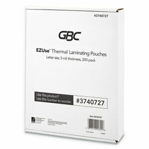 Gbc Ezuse Thermal Laminating Pouches 5 Mil 8 1 2 X 11 Clear Glossy 200