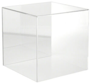 Plymor Clear Acrylic Display Case With No Base mirror Back 12 X 12 X 12