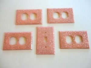 Vintage Lot Of 5 Pink Mica Glitter Electrical Wall Plates Light Switch Cover