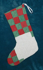 Primitive Antique Vintage Cutter Quilt Christmas Stocking Wow 16 45