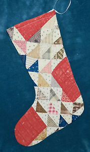 Primitive Antique Vintage Cutter Quilt Christmas Stockings Blue Red 16 34