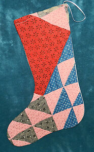 Primitive Antique Vintage Cutter Quilt Christmas Stockings Blue Red 16 2