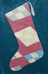 Primitive Antique Vintage Cutter Quilt Christmas Stocking Wow 16 14