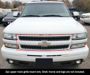 Fits 1999 2002 Chevy Silverado 1500 06 Tahoe Stainless Black Mesh Rivet Grille