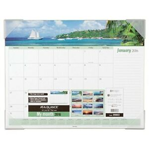 At a glance Desk Pad Calendar 2016 Seascape Panoramic 21 5 8 X 16 7 8 Inches