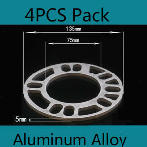 Alloy Wheel Spacers 4 X 5mm Shims Spacer Aluminum Universal 4 And 5 Stud Fit