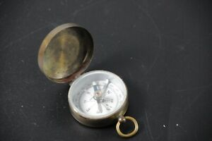 Antique Compass Vintage Made In Germany Brass Metal W Glass Face