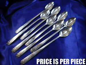 Rogers Heirloom Unknown Pattern Plated Silver Iced Tea Spoon Set Very Good