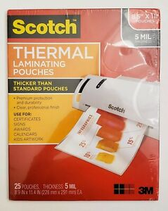Scotch Thermal Laminating Pouches 25 Pouches 8 5x11 5m Thicker Than Standard