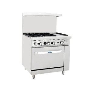 Atosa Ato 4b12g ng 12 Griddle 4 Burners Nat Gas Range Single Oven Free Casters