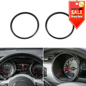 Carbon Fibe Interior Dashboard Ring Cover Trim Decoration For Ford Mustang 2015