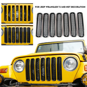 For 97 06 Jeep Wrangler Tj Front Grille Grill Cover Shell Inserts Mesh Trim 7pcs