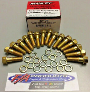 Manley 42175 Big Block Chevy Intake Manifold Bolt Set Gold Irridite With Washers