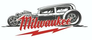 Milwaukee Tools Sticker Decal Black Hot Rod Mechanic Glossy Label Tool Box Usa
