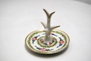 Rare X Leatherette Ring Finger Display Stand Porcelain Decorated Friezes Laurel