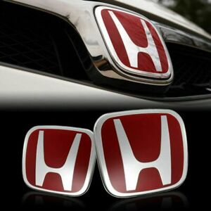 2pcs Jdm Red H Front And Rear Emblem Badge For Honda Civic 2006 2015 Sedan 4dr