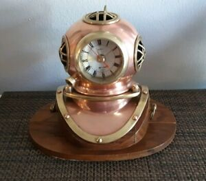 Table Ships Clock Divers Helmet Brass Copper With Working Clock Nautical