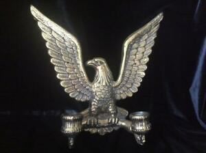 Vintage Eagle Wall Sconce Two Candle Holders Brass 7351 On Back