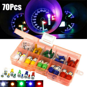 70pcs Set Car T5 T10 Led Instrument Panel Cluster Plug Dash Light Bulb Indicator