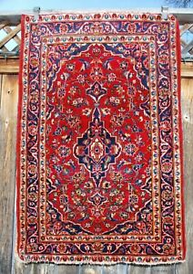 Old Semi Antique Fine Oriental Persian Rug 3 3 X 5 Red Floral W Indigo Blue