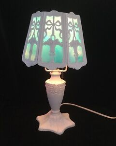 Refurbished Antique Boudoir Table Lamp With Slag Glass Shade Blue 2601
