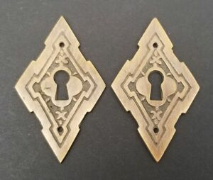 2 Vintage Antique Style East Lake Victorian Escutcheons Key Hole Covers 2 E23