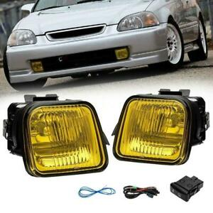 Yellow Fog Lights Driving Lamp Switch For 96 98 Honda Civic 2 3 4dr