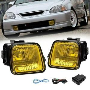 For 96 98 Honda Civic 2 3 4dr Yellow Fog Lights Driving Lamp Switch