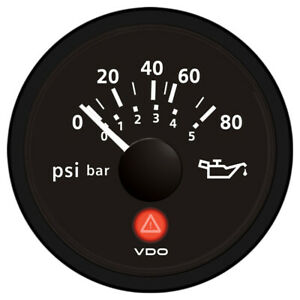 Vdo Viewline Onyx 80 Psi 5 Bar Oil Pressure Gauge 12 24v Use With Vdo Sende
