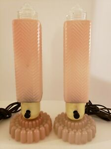 Vintage Funky Mid Century Pink Glass Atomic Rocket Phallic Boudoir Table Lamps
