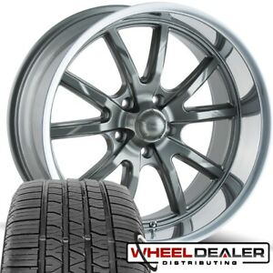 4 17x7 Gray Ridler 650 Wheels Rims Tires For 5 Lug Ford Mustang 1965 1966