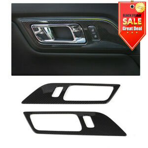 Carbon Fiber Car Door Handle Frame Trim Cover For Ford Mustang 15 19 Accessories
