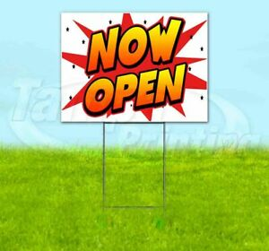Now Open Yard Sign Corrugated Plastic Bandit Lawn Decorations Usa