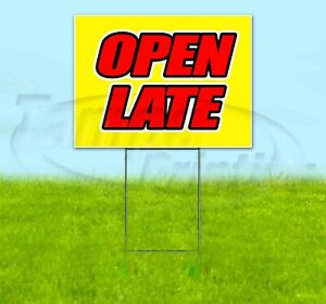 Open Late Yard Sign Corrugated Plastic Bandit Lawn Decorations Usa
