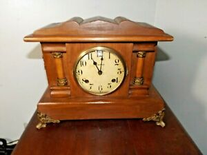 Antique 1900s Art Nouveau Style Waterbury 8 Day Mantle Table Clock Runs