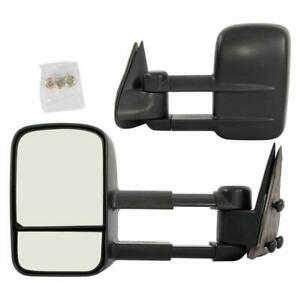 L R For 99 06 Gmc Sierra Silverado Pickup Telescoping Manual Tow Mirrors Black