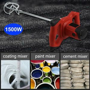 Electric Mortar Mixer 1500w Ac110v Dual High Low Gear 6 Speed Paint Cement Grout