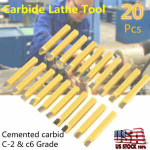 20pc 3 8 Inch Metal Lathe Tooling Carbide Tip Tipped Cutter Tool Bit Cutting Set