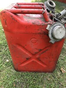Usmc Vietnam Era Stamped 20 5 68 Red Metal Gas Jerry Can 5 Gallon Willy s Jeep