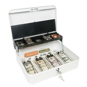 Cash Drawer Box Deposit With Money Tray Register Organizer Slot Holder Lock New