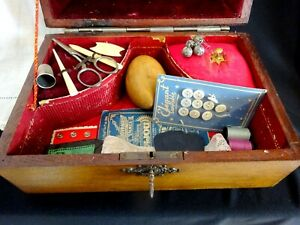Vintage Sewing Box Case French Art Nouveau 16 Tools Pink Antique Sewing Notions