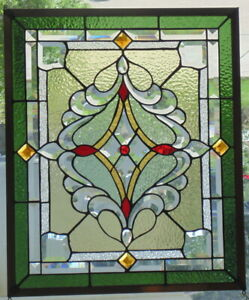 Stained Glass Window Hanging 24 1 2 X 20 Brass Frame Edging